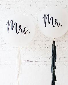 MR & MRS Giant Balloon and Tassel Set — Paris312 Elegant Bridal Shower, Giant Balloons, Mr Mrs, Tassels, Tassel, Soft Leather, Fringes