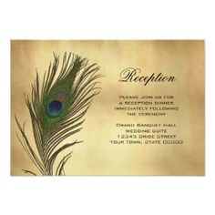 Peacock Wedding Reception Vintage Look Peacock Feather Reception Info Card