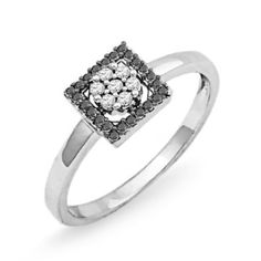 Sterling Silver Black and White Round Diamond