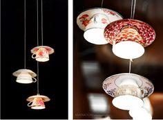"Tea cup lamp ""Electric Mavis"" designed by Gregory Bonasera.   #recycling"