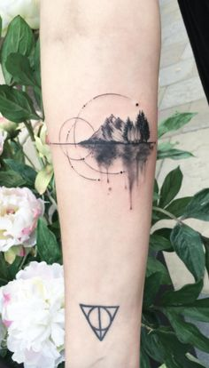 Reflection Of Forest And Mountain Tattoo