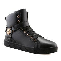 Metal Tie Up Skull Pattern Boots #shoes, #jewelry, #women, #men, #hats, #watches, #belts