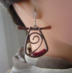 Copper Wire Earrings with. Ruby Red Jade/ Copper Dangles/ by mese9