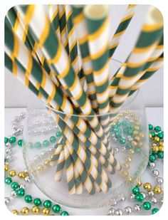 25 Oregon Ducks Green Yellow Striped Straws Cake Pop Lollipop Stick For Birthdays Weddings Parties