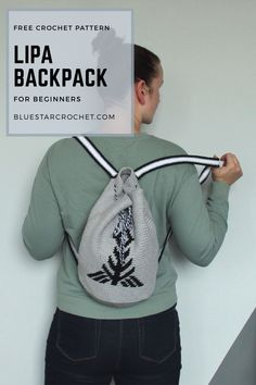 free crochet pattern for tapestry crochet backpack. this easy crochet rucksack pattern is supported by a video tutorial. the pattern is worked from a crochet chart.