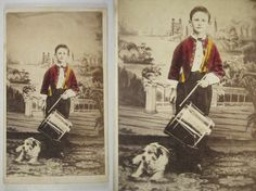 1860s Civil War Drummer Boy, Tinted w/ Dog, Lockport NY