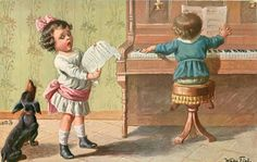 Full Sized Image: two children, one at piano, one sings, dachshund joins in Vintage Dachshund, Dachshund Art, Daschund, Dogs And Kids, Dogs And Puppies, Weenie Dogs, Doggies, Picture Postcards, Vintage Christmas Cards