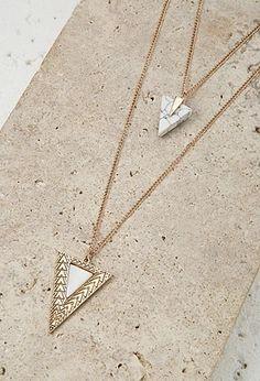 Triangle Pendant Necklace Set | Forever 21 #accessorize