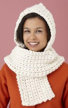 Free Crochet Pattern: Cozy Crochet Hooded Scarf {lion brand}