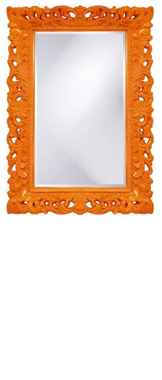 """Wall Mirrors, 46"""" Tall Classic Baroque Mirror, Orange High Gloss Lacquer, so beautiful, inspire your friends and followers interested in luxury interior design & gifts with more beautiful accents like this from InStyle Decor Beverly Hills, Luxury Designer Furniture, Mirrors, Lighting, Art, Accents & Gifts, over 3,500 inspirations to choose from and share with our simple one click Pinterest Pin button enjoy & happy pinning"""