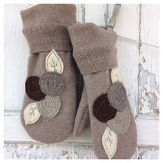 Felted Wool Mittens- Garden Blooms-Brown-Women-Upcycled Wool