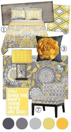 Grey and yellow bedroom. @ Home Design Ideas - throw in some black and Im a happy camper!  My color scheme for the fifth wheel!