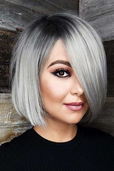 13 silver hair color ideas — celebrity silver hair dye shades shades of grey hair color chart ceresi 15 stunning … Bob Hairstyles For Round Face, Easy Summer Hairstyles, Short Hairstyles For Women, Cool Hairstyles, Bob Haircut For Round Face, Grey Bob Hairstyles, Scene Hairstyles, Round Face Bob, 50 Year Old Hairstyles