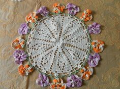 Vintage Round Handmade Crocheted Doilly with Raised by ShatomaArt, $4.00