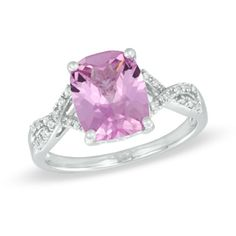 Cushion-Cut Lab-Created Pink and White Sapphire Ring in Sterling Silver - Size 7  - Peoples Jewellers