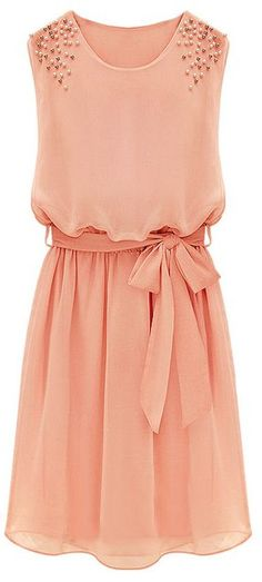 Coral Belt Chiffon Sundress //