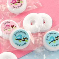 Personalized Baby Shower Life Savers Mint Favors-Instead of traditional mints or candies for your baby shower, have a little fun with personalized peppermint Life Savers®, unique party favors that guests will remember for a lifetime. These sweet refr Baby Shower Snacks, Baby Shower Desserts, Baby Boy Shower, Personalized Baby Shower Favors, Baby Favors, Pink Mason Jars, Unique Party Favors, Mint Candy, Life Savers