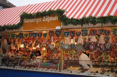 German Christmas Market. Germany. Traditional. Lebkuchen (gingerbread) booth @ Nurnberg Markt