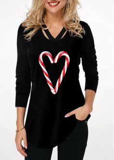 New Arrival | Liligal.com Casual Tops, Casual Shirts, Casual Outfits, Trendy Tops For Women, Candy Cane, Shirt Style, Long Sleeve Shirts, Sleeves, Clothes