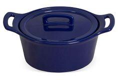 Small Round Baker w/ Lid, Cobalt Blue