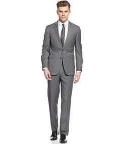 Kenneth Cole Reaction Suit Grey Mini Stripe Slim Fit - Something different because you said you were looking at grey - good price!