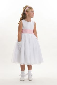 Sleeveless bridal satin bodice with bridal organza overlay skirt,dress bridal quality and is made well and does not look like the cheap poly junk dresses that y. Ivory Dresses, Bridal Dresses, Dresses 2013, Girls Dresses, Yellow Flower Girl Dresses, Holy Communion Dresses, Dresses For Less, Dress First, Sash