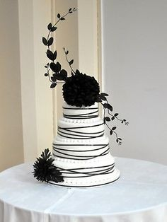 white wedding cakes I dont know about the coloring but I LOVE the use of great heights on a cake. Black White Cakes, Black And White Wedding Cake, White Wedding Cakes, Beautiful Wedding Cakes, Gorgeous Cakes, Pretty Cakes, Cute Cakes, Amazing Cakes, Striped Wedding