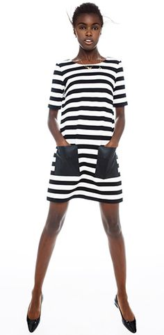 Hayley Striped Knit Dress | ClubMonaco.com- I'd wear this as a tunic!