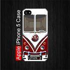 Red Maroon VW Camper Van iPhone 5 Black Case, Optional: White Case #iPhone5 #iPhone5 #PhoneCase #iPhone5Case #iPhone5Case