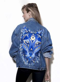 Vintage denim jacket with original artwork by Ana Kuni