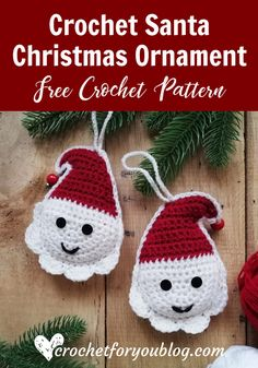 Crochet Free Pattern Crochet Santa Christmas Ornament Free Pattern - This Christmas Crochet Santa pattern is a part of the Christmas Ornament Mini CAL. Each pattern in this CAL requires less than 30 yards. Crochet Christmas Decorations, Crochet Decoration, Crochet Christmas Ornaments, Holiday Crochet, Crochet Snowflakes, Christmas Knitting, Santa Christmas, Free Christmas Crochet Patterns, Xmas Decorations