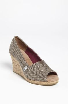 THESE are cute!!!!!  Herringbone TOMS wedge peep toe!!