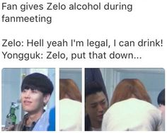 Papa Yongguk always looking out for Baby Zelo.