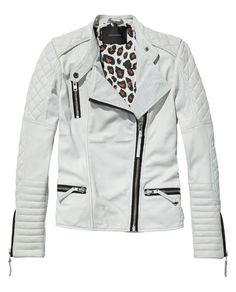 Leather biker jacket with animal printed lining | Leather Jackets | Woman Clothing at Scotch & Soda