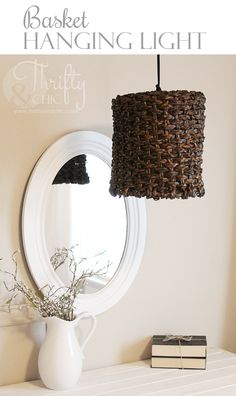 Repurpose a basket into a cute hanging light