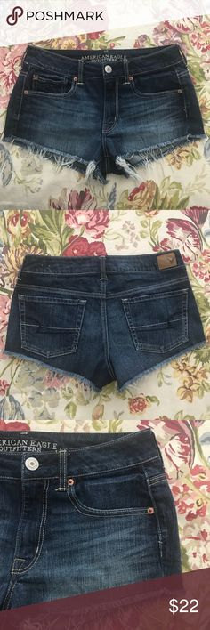 """AEO Stretch Cut-off Short Shorts Size 6 AEO Stretch Cut-off Short Shorts Size 6 in excellent pre-loved condition. Manufactured cut-offs in dark wash. Between mid & hi rose (AEO standards). Totally adorable shorts for summer fun in the sun!!!   Measurements flat: Waist 15"""" Rise 9"""" Inseam 2"""" American Eagle Outfitters Shorts Jean Shorts"""