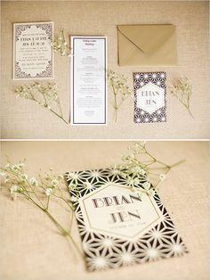 Roaring 20's wedding invitations @weddingchicks