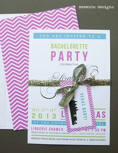 Las Vegas Bachelorette Party Invitation with glitter ribbon and chevron pattern by Memento Designs