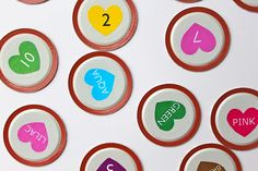 Mason jar lid matching game, great for all those lids you can't reuse and don't know what to do with