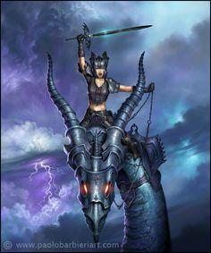 Barbieri tarot knight of swords My Fantasy World, Fantasy Women, Fantasy Art, Iron Fey, Serpieri, Knight Sword, Dragon Dreaming, High Middle Ages, Fantasy Figures