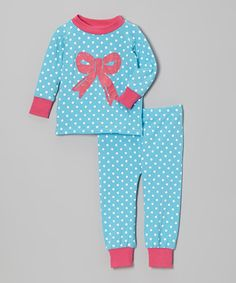 Take a look at this Turquoise & Pink Dot Bow Pajama Set - Infant, Toddler & Girls on zulily today!