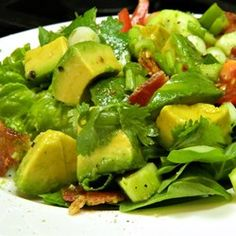 Bacon Avocado Salad Allrecipes.com I like to pare this recipe down and use 2 avacadoes since there are only 2 at home just now. Cut the recipe in half on the rest of the ingredients. I also use cider vinegar to my taste.