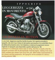 Introduction in Moto Guzzi flash of the Ippogrifo