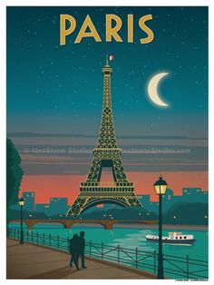 Image of Vintage Paris Moonlight Poster