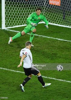 #EURO2016 Bastian Schweinsteiger of Germany scores his team's second goal during the UEFA EURO 2016 Group C match between Germany and Ukraine at Stade Pierre-Mauroy on June 12, 2016 in Lille, France.