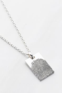 Rectangular Fingerprint Necklace For Men • Custom fingerprint necklace • Sterling Silver sympathy necklace • Personalized sympathy jewelry • Sympathy gift • In memory of Dad • Memorial necklace • Memorial gift • Thumbprint Necklace • Remembrance Necklace