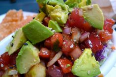 Avocado Poke This is a great dish that is very versatile. You can omit the fish if you want to make it vegetarian, it can be served with taro chips or on a salad or by itself. Posted By: A. Seafood Recipes, Gourmet Recipes, Cooking Recipes, Healthy Recipes, Tartare Recipe, Korean Side Dishes, Main Dishes, Poke Recipe, Clean Eating