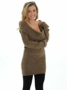 """Long Sleeve Pullover Brown Cowl Neck Tunic Sweater Cable, $49.99. Amanda said… """"I am very picky about my sweaters and was reluctant to purchase one online for the first time without trying it on but I fell in love with this sweater as soon as I put it on, very comfy, very warm, form fitting and I love the fact that the sleeves are extra long."""""""