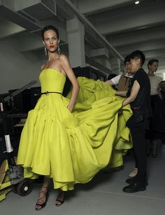 The dress in neon green almost yellow? Love.