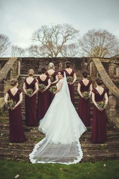 Burgundy / maroon bridesmaid dresses and stunning bridal party photo. dresses are cool but I like the photo since you're doing the castle, maybe we could replicate. Navy Wedding Colors, Burgundy Wedding, Fall Wedding, Dream Wedding, Gatsby Wedding, Trendy Wedding, Maroon Bridesmaid Dresses, Wedding Bridesmaids, Before Wedding